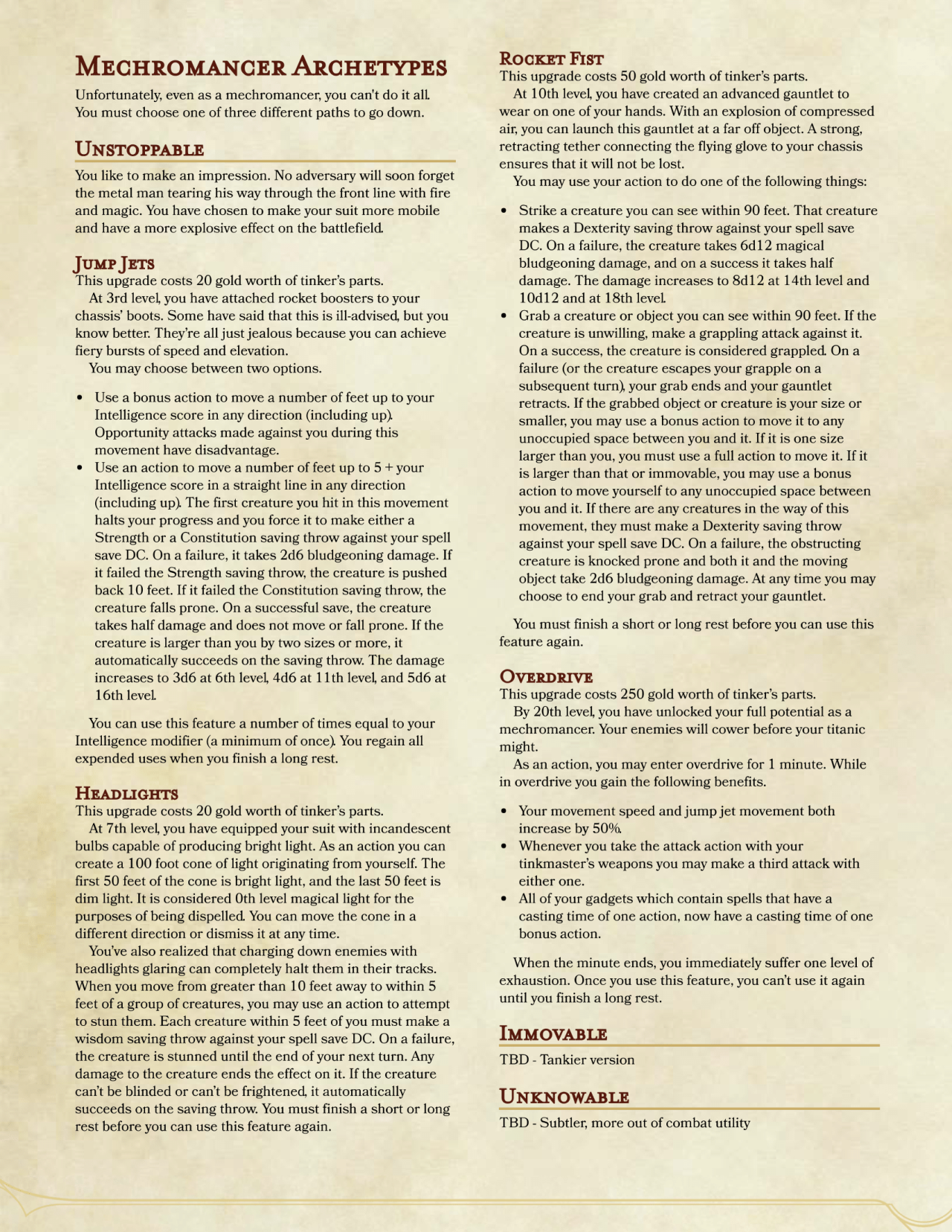 Dnd 5e Homebrew Mechromancer By Fredidly Dnd 5e Homebrew Dungeons And Dragons Classes Dnd