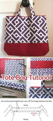 Fat Quarter Tote Bag Tutorial,  #BAG #Fat #Handbag #Quarter #Tote #Tutorial