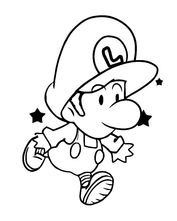 baby luigi learn to jump coloring pages