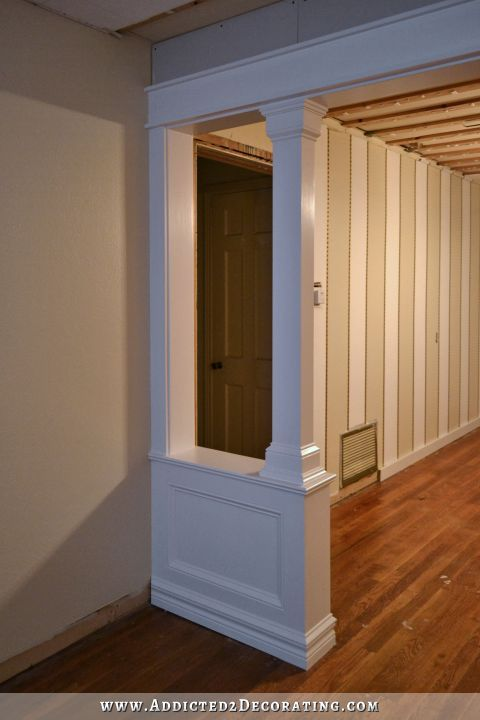 Pony Walls With Columns Finished Paint Trim Tile Molding Ideas Pony Wall Wall