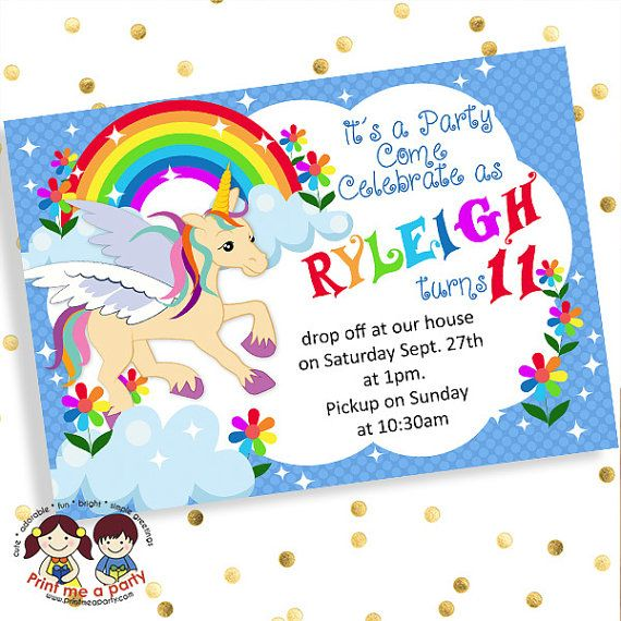 Unicorn Birthday Invites Birthday Invitations For Girls Rainbow - Rainbow birthday invitations templates free