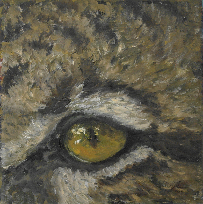 """""""Treleopard, studie av øye"""" (Clouded Leopard, eye) by Elin Johnsen. Olje på lerret. 15x15cm. #leopard #art #painting #oil #eye #endangered #wildlife"""