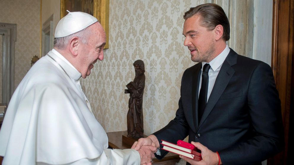 """Actor Leonardo DiCaprio brushed up his Italian to greet Pope Francis at the Vatican Thursday, discussed their shared concern over the environment and gave the pontiff a check for his charitable works. """"Your Holiness, thank you for granting me this private audience with you,"""" DiCaprio said..."""