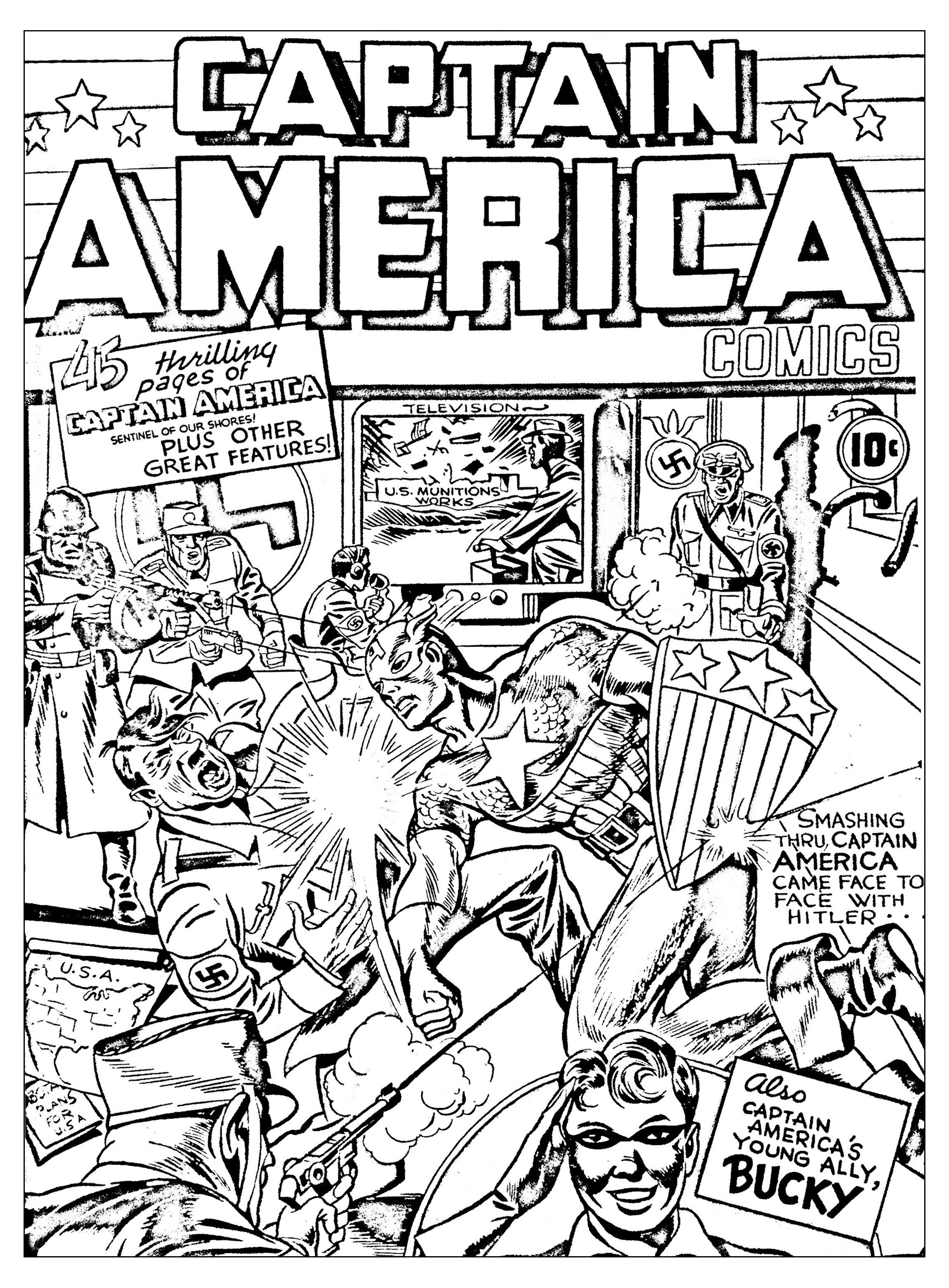 Free Coloring Page Coloring Adult Captain America Vs Hitler Coloring Page Inspired By An