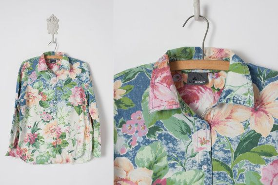 80s Denim Shirt // Floral Denim Shirt  // by vintagesalvation, $35.00- don't like the shirt but the shop is cool