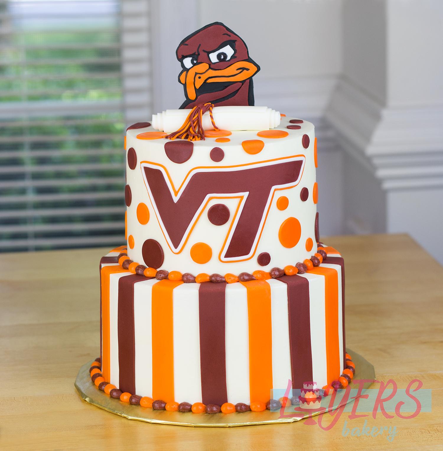 Virginia Tech graduation cake with custom fondant topper