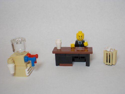 LEGO Furniture: Office Set w/ Desk, Water Cooler, Trash Can ...
