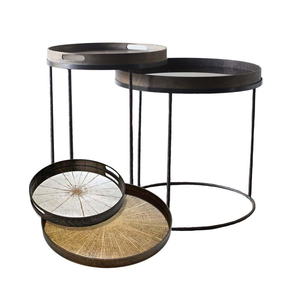 Notre Monde Tabletttisch Rund Baumstamm Metall Glas 2er Set Tabletttisch Beistelltisch Baumstamm Und Tisch