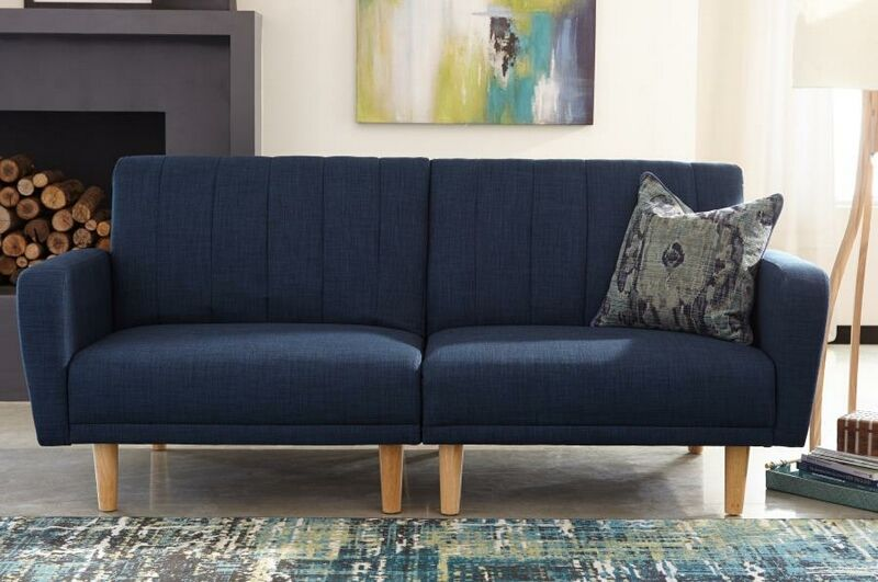 360013 Shaywood Collection Blue Woven Fabric Upholstered Split Sofa Futon Set Small Sofa Bed Couch And Loveseat Upholstered Sofa Bed