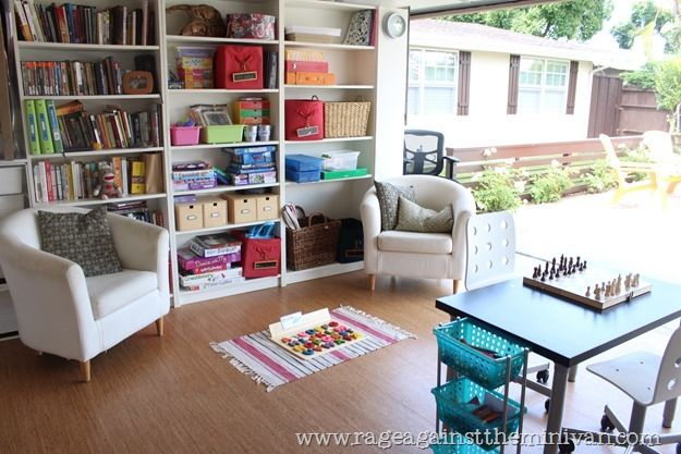 #Garage Transforms Into Functional Office And Playroom.