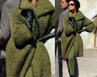 Mohair Sweater Jacket Knitting Pattern - Coat Cardigan - Sweater Dress Jacket - Instant Download PDF - Digital Pattern - Moss Green Coat