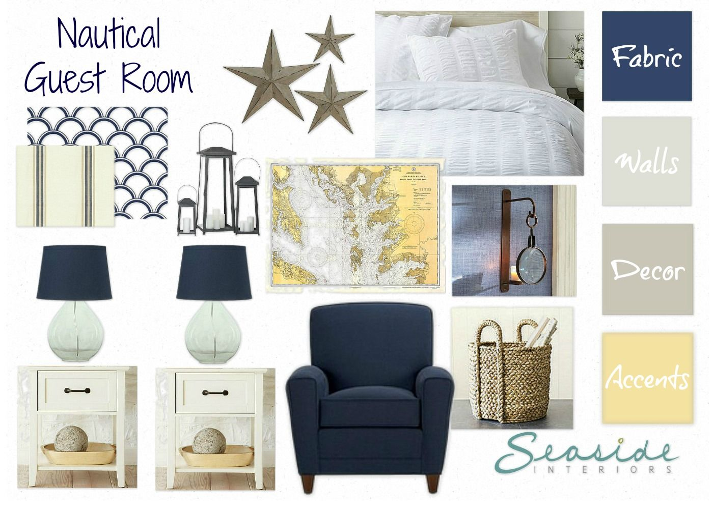 Seaside Interiors Navy And Yellow Nautical Guest Room Online - Yellow guest bedroom decorating ideas
