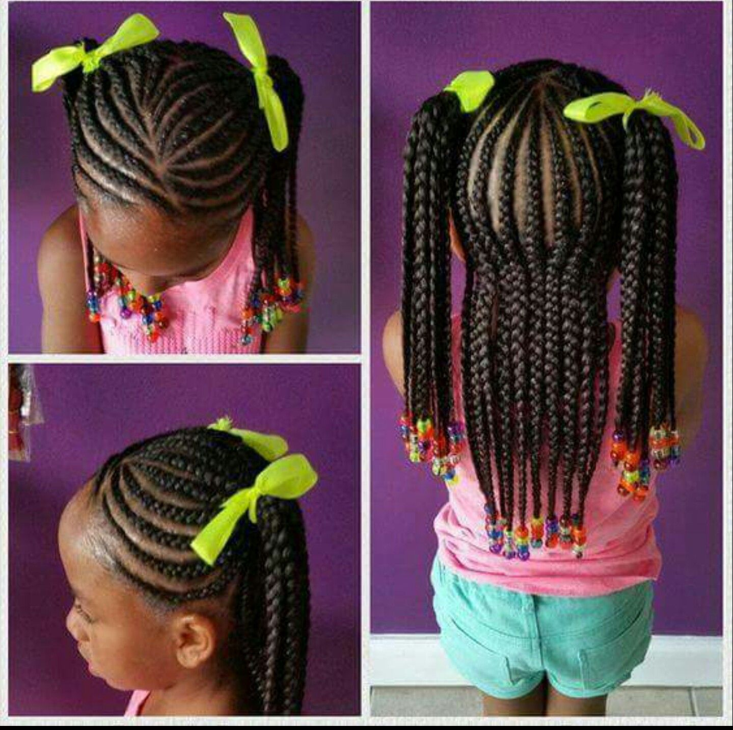Braids To 2 Ponytails Protective Hairline Little Black Girls Braids Toddler Braided Hairstyles Little Girl Braid Styles