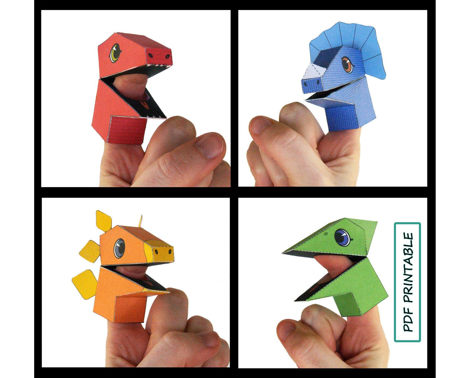Dinosaur Finger Puppet Set Of  Papercraft Pdf Printable