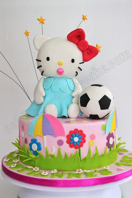 Hello Kitty with Soccer Ball Cake