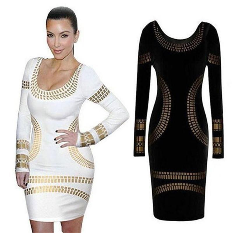 f2d616676d2 2018 Sexy Dress Gold Foil Printed Mini Dress Celebrity KIM KARDASHIAN  Bodycon Tunic Long Sleeve Party