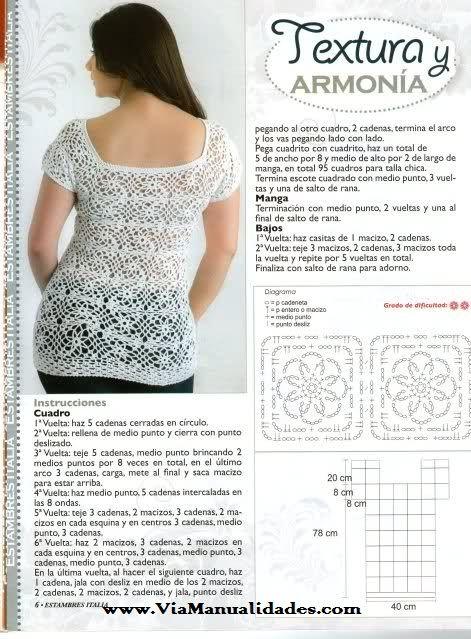 c35d88ca7 Blusas tejidas a crochet patrones gratis - Imagui | Blusas caladas a ...