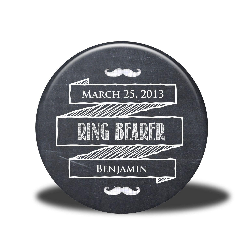 PERSONALIZED Ring Bearer Gift - Mirror, Magnet, Bottle Opener or Pin - Chalkboard. $5.00, via Etsy.