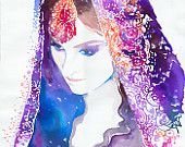 Watercolour Fashion Illustration  Indian Bride