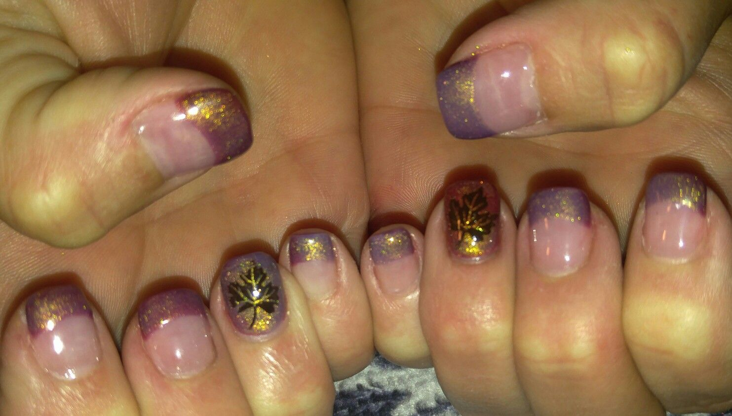 Fall Nails! Acrylic nails with thermal hand painted French tips and ...