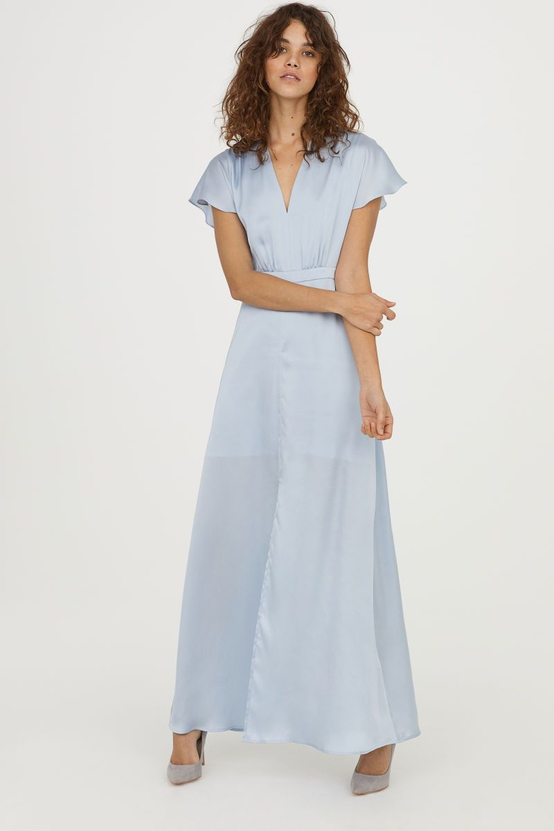 ee9fd69e9e72 Long Satin Dress | Light blue | WOMEN | H&M US | Spring Summer 2018 ...