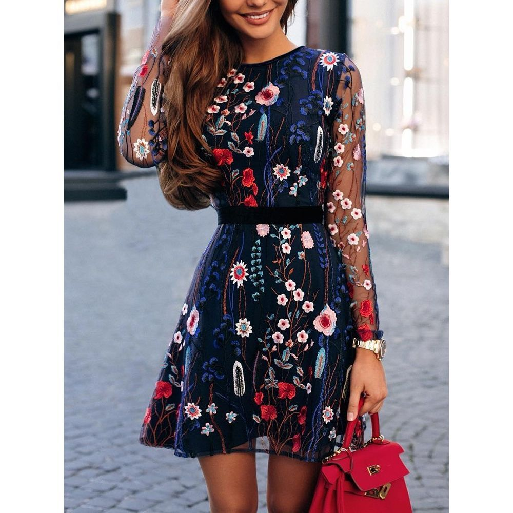 Floral Embroidery Casual Mini Dress -   25 mexican style clothes