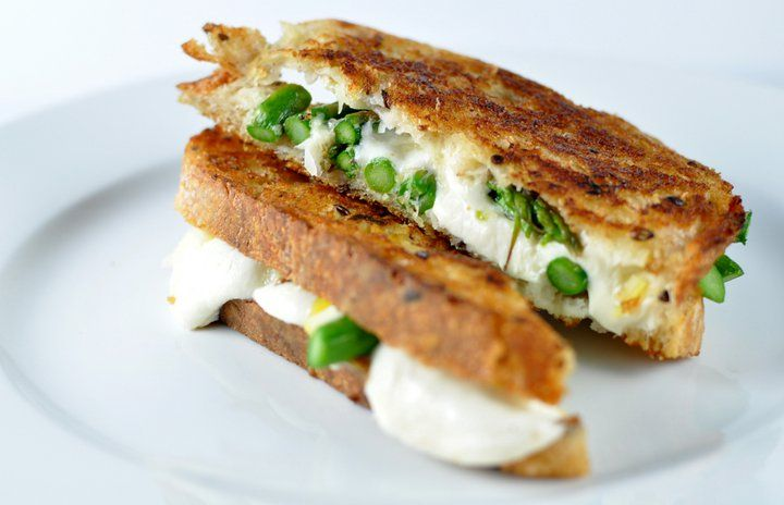 mozzarella, lemon preserves and roasted asparagus on a hearty country bread.  May be best grilled cheese EVER.