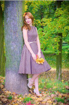 1aae232a542e SUSAN retro šaty hnědé s bílým puntíkem lodičkový výstřih pásek kolová sukně  spodnička hravé romantické bez rukávů handmade ruční výroba česká výroba ...