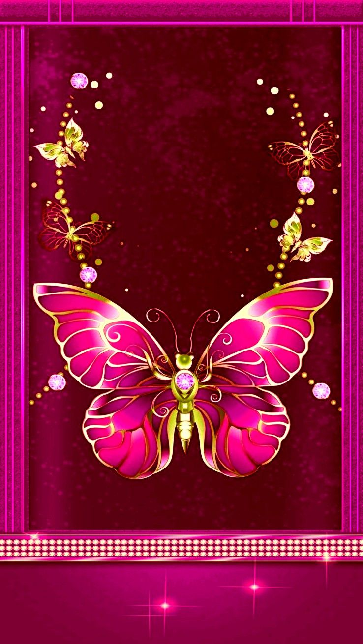 Pink and gold | Butterfly wallpaper, Butterfly background ...