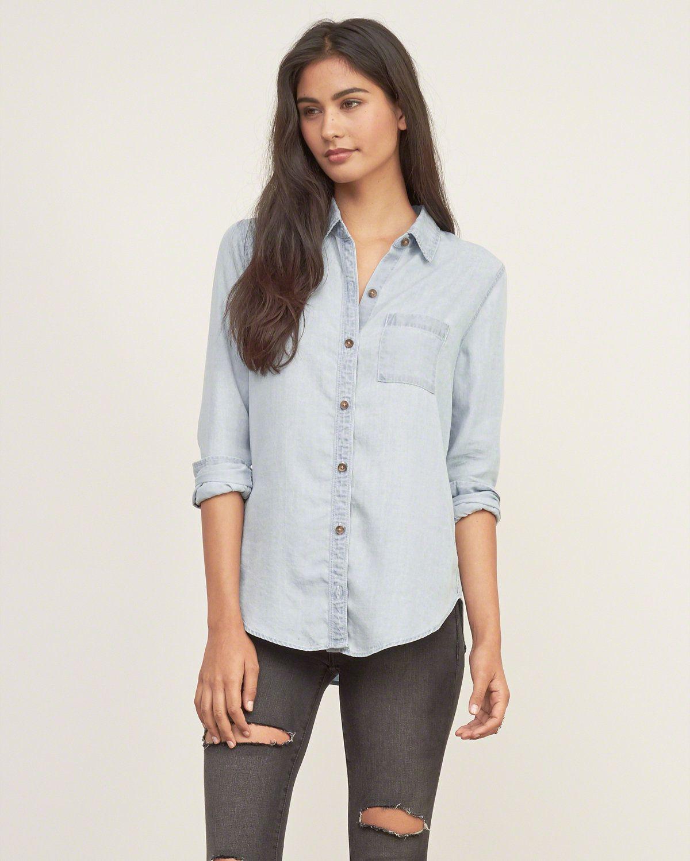a3594ff6d3a Womens Light Wash Denim Shirt