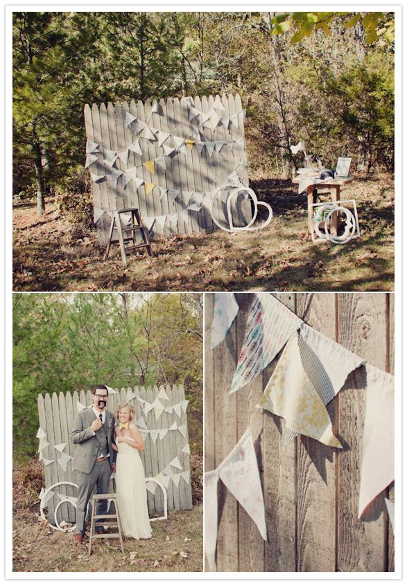 Crafty missouri wedding cheri chad diy photo booth photo booth diy photo booth reclaimed wood old fence and bunting would be kind of a pain to get it to the wedding though solutioingenieria Images