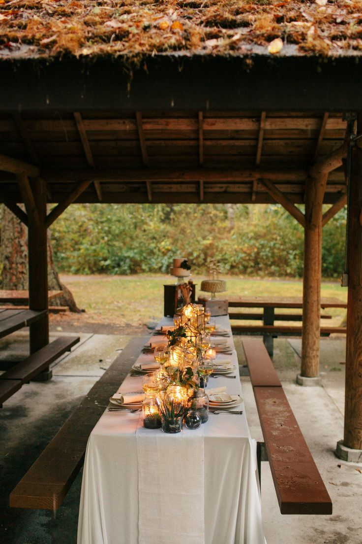 Outdoor Indoor Wedding Weddingbee Picnic Table Wedding Pavilion Wedding Wedding Decorations