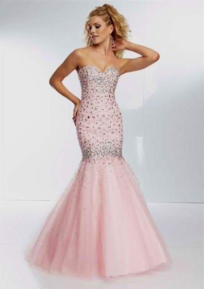 pink mermaid gown with beading prom