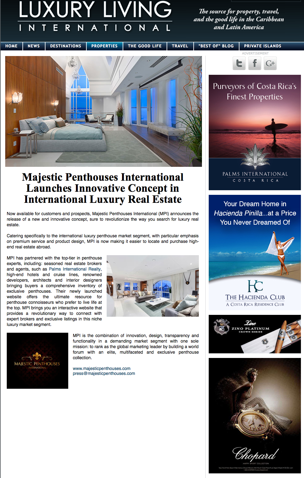 Majestic Penthouses Global Launch featured in Luxury Living International | Press | Majestic Penthouses International
