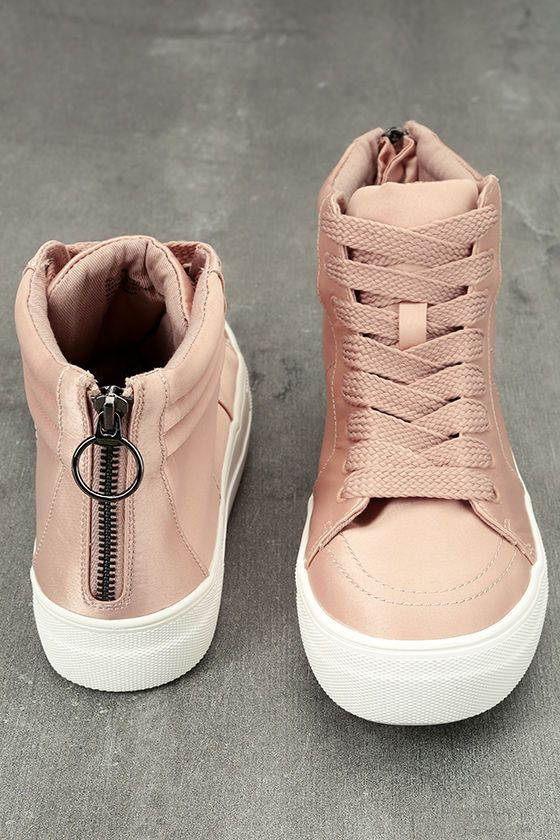 The Steve Madden Golly Blush Satin High-Top Sneakers are shockingly