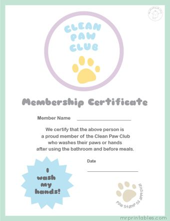 Free Printable Certificates Washing Hands  ChildS Play