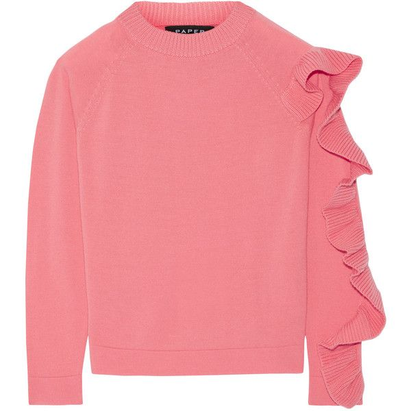 a57385bdea0 Paper London Montana ruffled merino wool sweater ( 255) ❤ liked on Polyvore  featuring tops