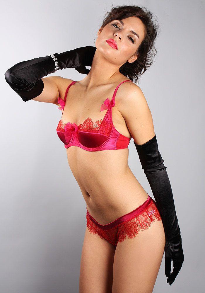 a11c36336e042 Mimi Holliday by Damaris Cherry Bomb Deep Red Lace Silk Satin Bra - BNWT