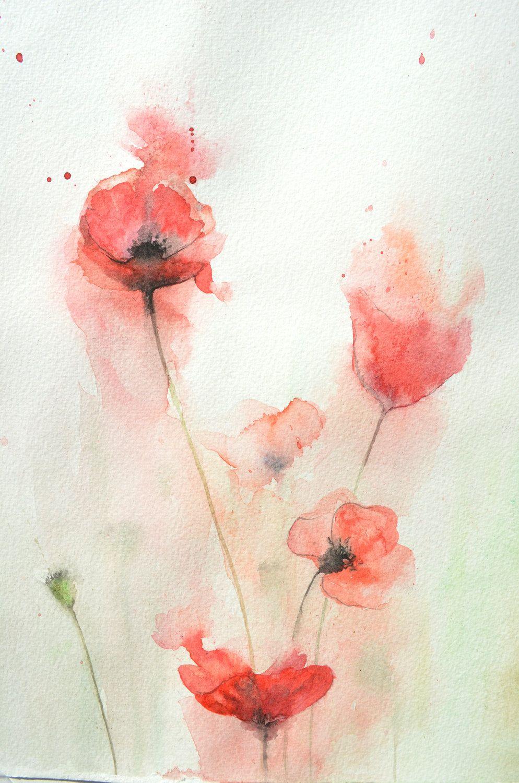 Poppies Dessin Aquarelle Coquelicots Aquarelle Et Peinture