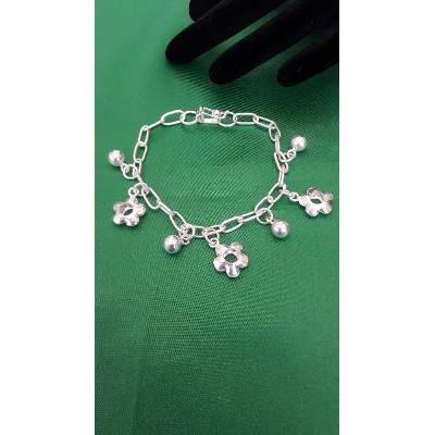 9c6a3baf413c Pulsera Para Mujer De Plata 9.50 Flores Y Bolastipo Esclava - U$S 56 ...