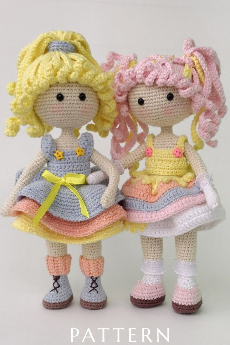 Crochet princess doll pattern, amigurumi sweet doll pattern, girl doll ooak tutorial