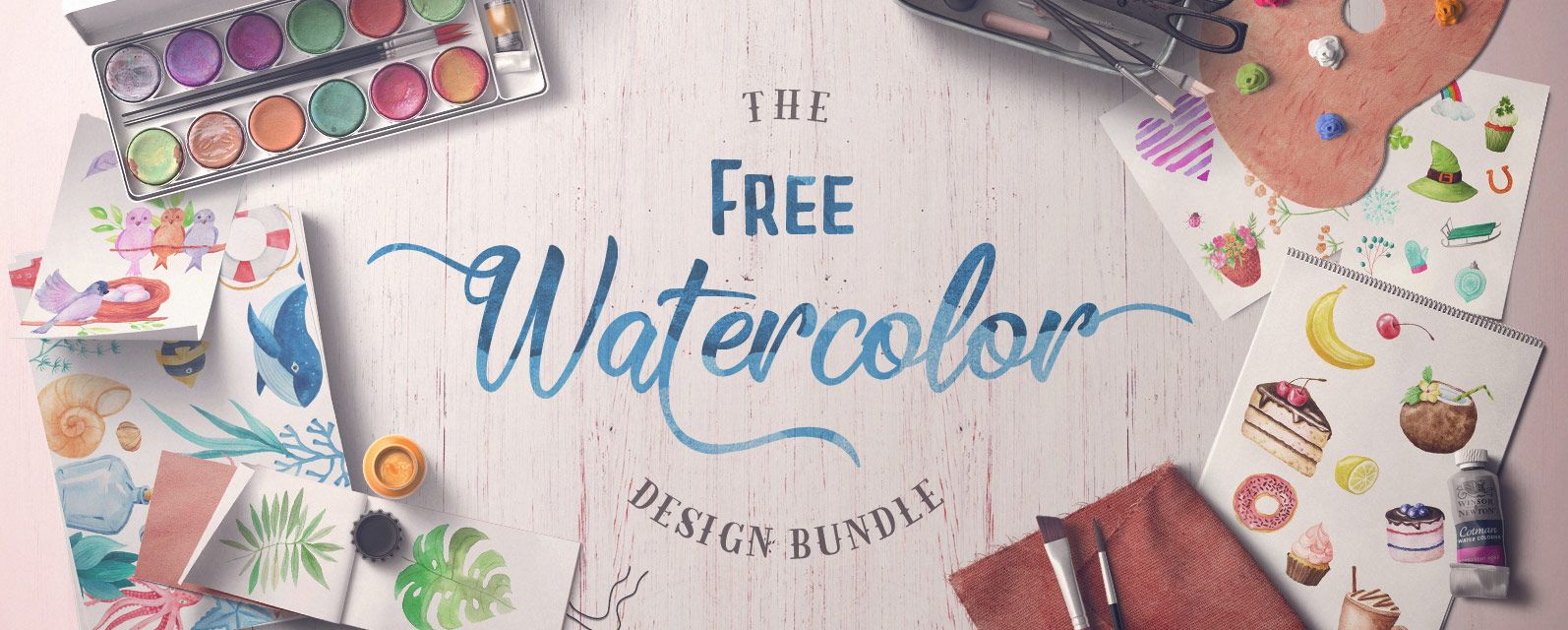 Download The Free Watercolor Bundle Cover Freebie Designbundles Design Bundles Free Font Watercolor Design