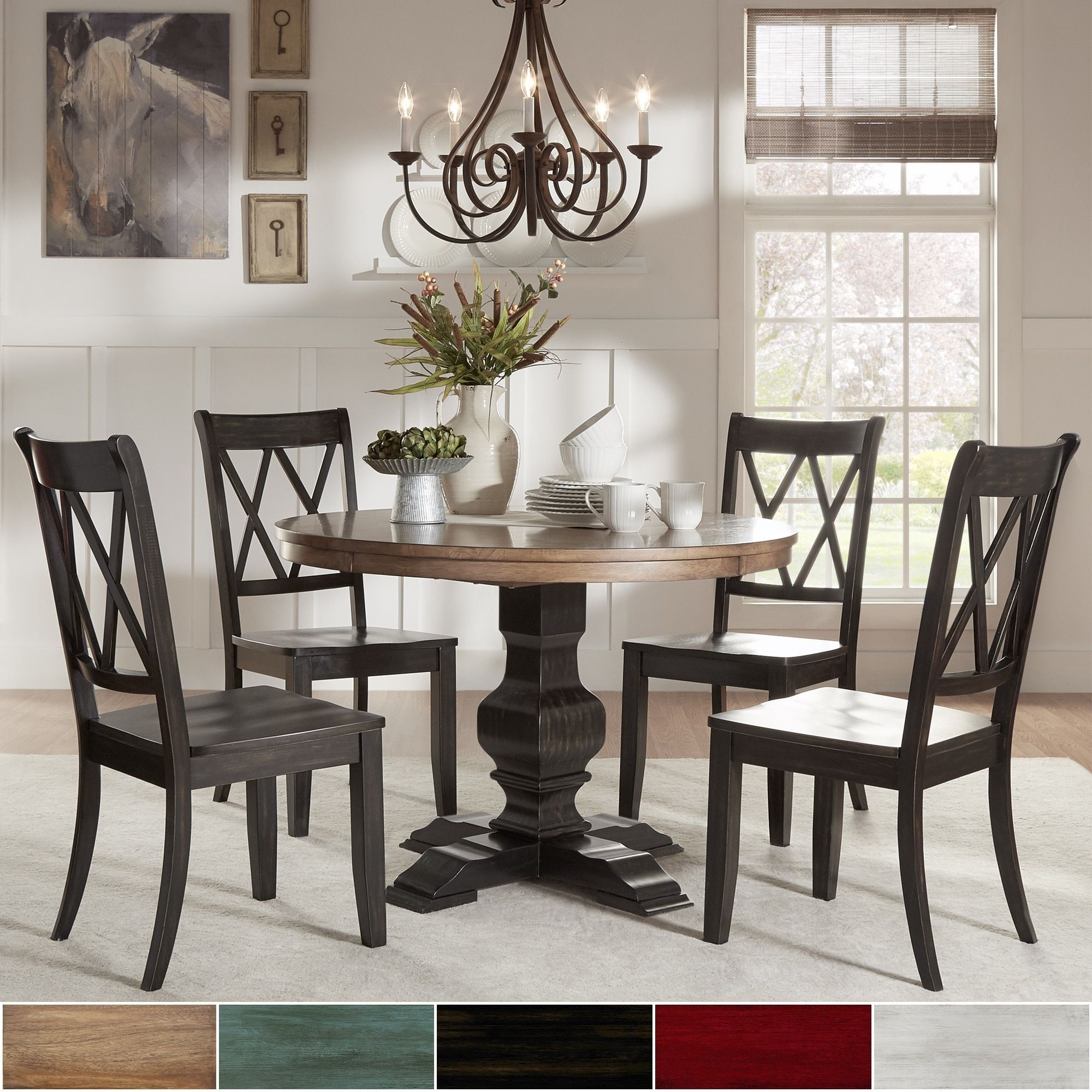 Eleanor Black Round Solid Wood Top 5 Piece Dining Set X Back By