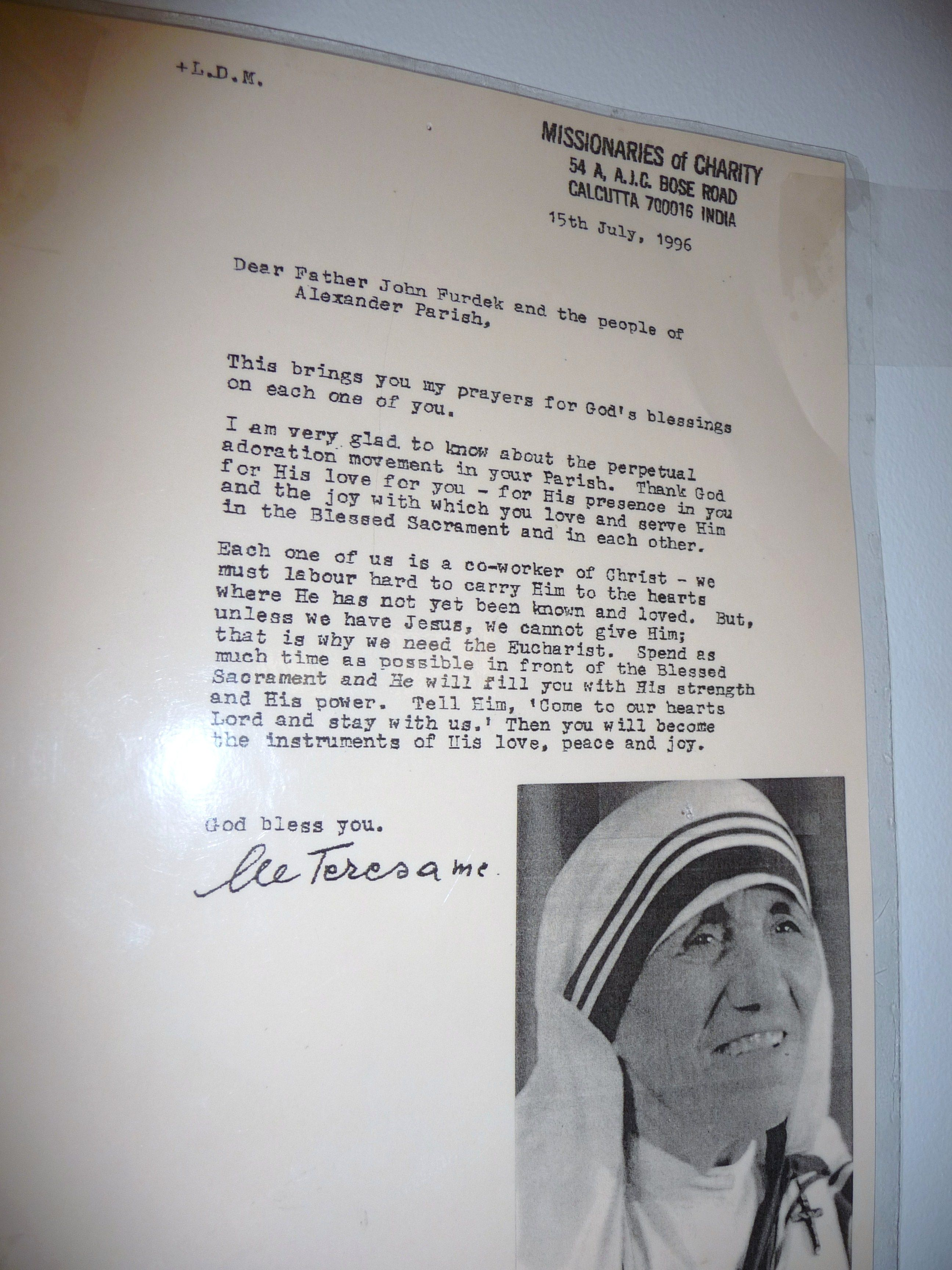 Mother Teresa Quotes On The Eucharist: Mother Teresa On Eucharistic Adoration (Photo By Jeanette