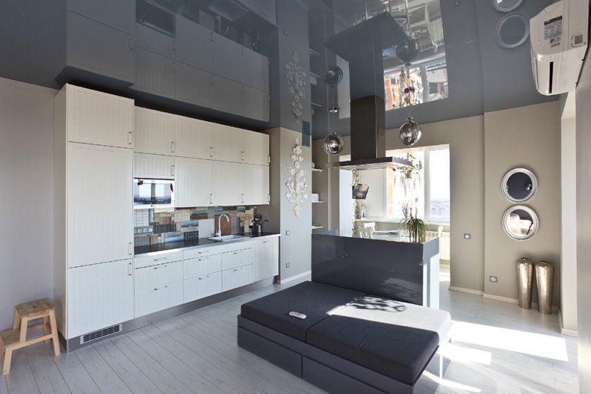 Натяжной потолок на кухне. Дизайн. Фото решений ...