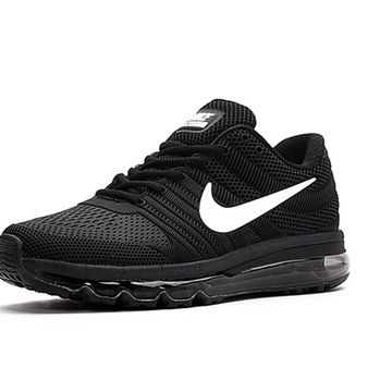 Nike Air Max 2017 Men Black White Logo Running Shoes [airmax2017-062] -
