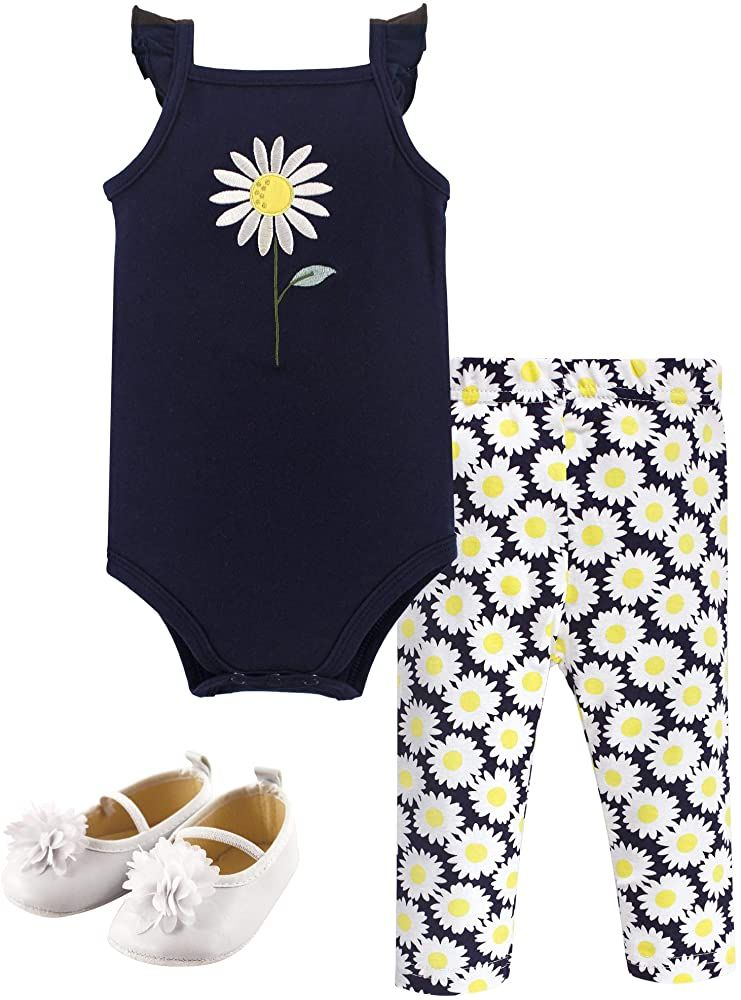 Hudson Baby Unisex Baby Cotton Bodysuit Shorts and Shoe Set