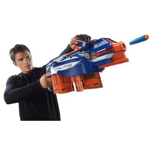 Nerf N-strike Elite Hail-fire Sonic Ice Blue Blaster Gun W 8 Clips