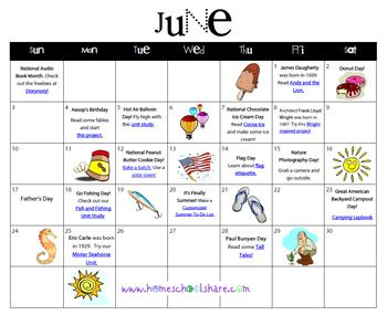 JuneS Making The Days Count Fun Activity Calendar  Great Ideas