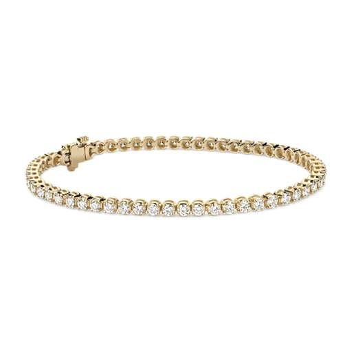Diamond Tennis Bracelet In 18k Yellow Gold 3 Ct Tw Blue Nile Bracelets Gold Diamond Tennis Bracelet Diamond Sparkly Bracelets